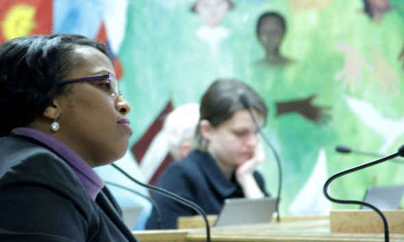 Former MPS superintendent Darienne Driver, pictured here at a school board meeting in 2015, reached an agreement with the U.S. Department of Education in 2018 to address the district's racial disparities in discipline. File photo by Molly Rippinger/NNS.