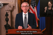 Tony Evers addresses the state Tuesday evening to discuss the COVID-19 pandemic. (YouTube screen capture)