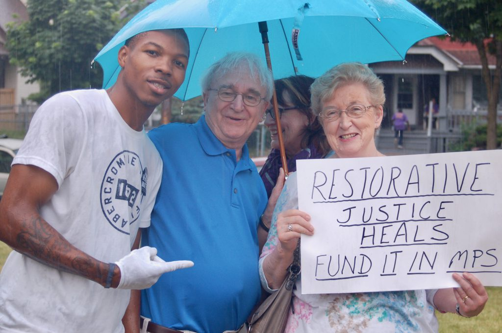"""Milwaukee Innercity Congregations Allied for Hope has consistently lobbied MPS to be more transparent in how it addresses racial inequities. Here participants of MICAH's 2016 """"I Am 53206"""" march call on MPS to support restorative justice measures. File photo by Naomi Waxman/NNS."""