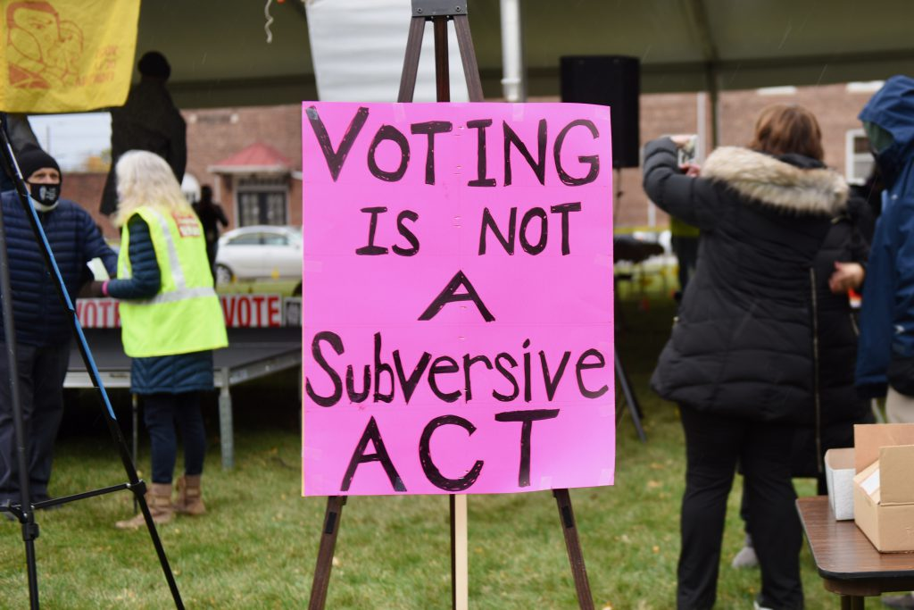 Groups from across the city have mobilized to register voters and to raise awareness of the issues they consider important. Photo by Sue Vliet/NNS.