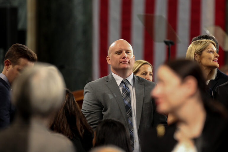 Caleb Frostman, former secretary of Wisconsin Department of Workforce Development, is seen at the Wisconsin State Capitol on Jan. 7, 2019. Gov. Tony Evers in September 2020 asked Frostman to resign as secretary, citing a backlog of unemployment insurance claims. Emily Hamer / Wisconsin Watch