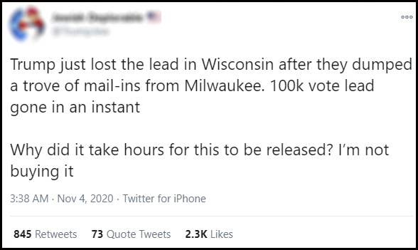 A Twitter user baselessly suggests a conspiracy helped former Vice President Joe Biden overtake President Donald Trump in the race for Wisconsin's 10 electoral votes — one of many examples of misinformation surrounding ballot counting that spread widely across social media on Nov. 4. Elections officials long anticipated that Wisconsin clerks would continue counting early and absentee votes past Election Day — particularly in Milwaukee. Wisconsin Watch has obscured the profile name of the Twitter user. Twitter screenshot