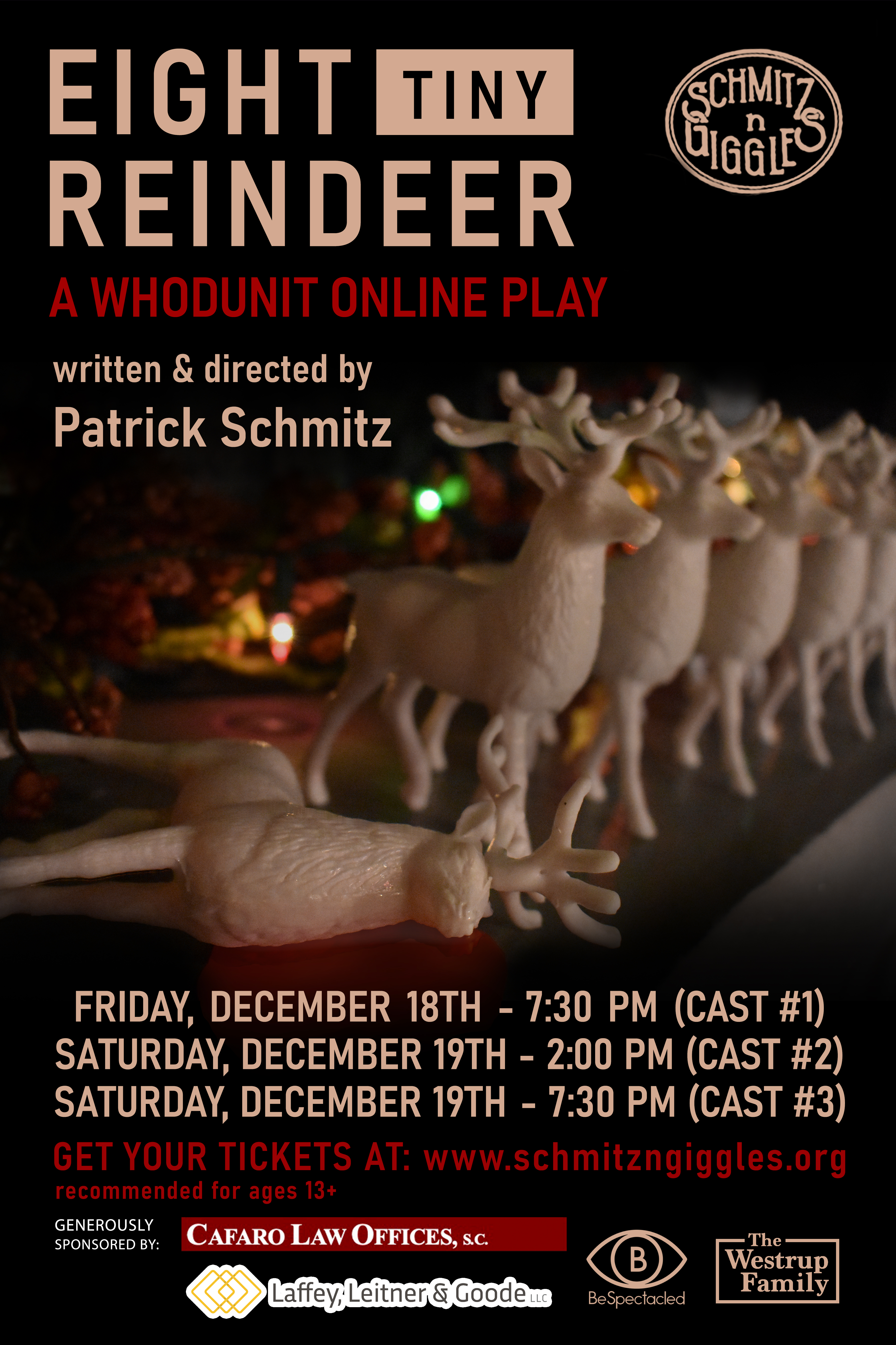 Schmitz 'N' Giggles Announces Holiday Whodunit: Eight Tiny Reindeer Original Online Comedy Thriller to Premiere This December