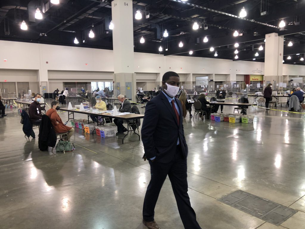 Milwaukee County Executive David Crowley visits the the convention center on the fourth day of the recount. Photo by Jeramey Jannene.
