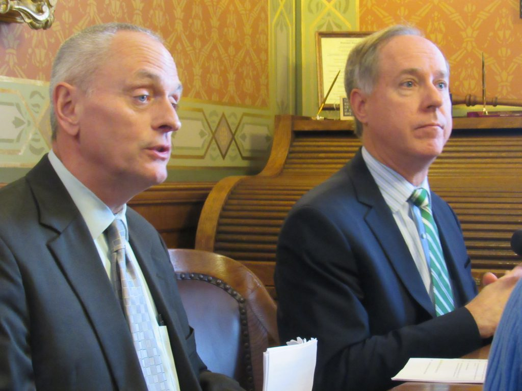 Rep. Joe Sanfelippo with Assembly Speaker Robin Vos. Photo by Isiah Holmes/Wisconsin Examiner.