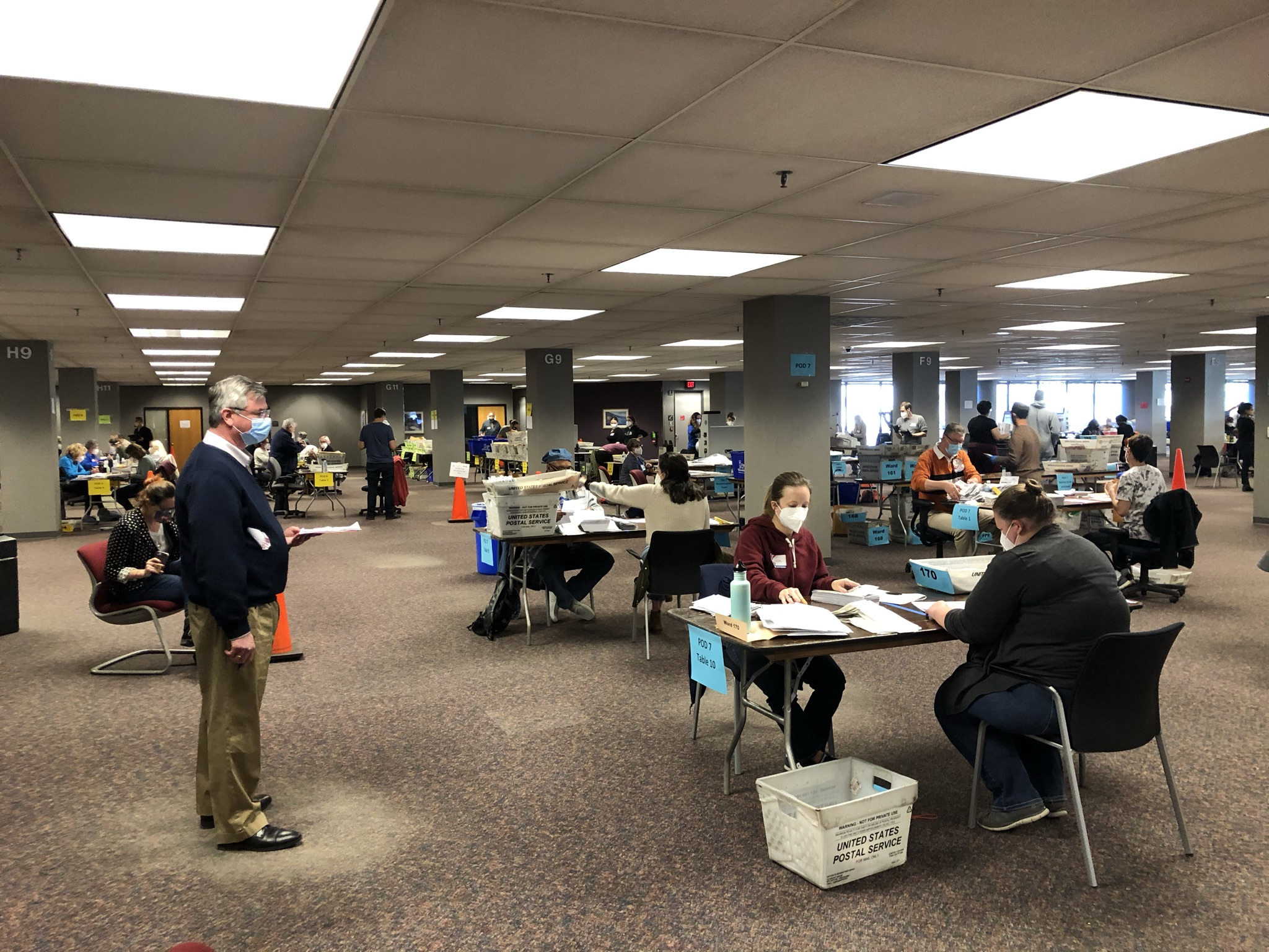Ballot processing at Milwaukee's central count facility. Photo by Jeramey Jannene.
