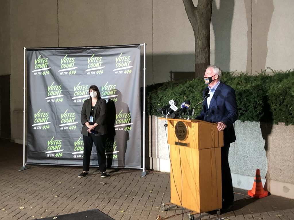 Mayor Tom Barrett and Milwaukee Election Commission executive director Claire Woodall-Vogg address the media on November 3rd. Photo by Jeramey Jannene.