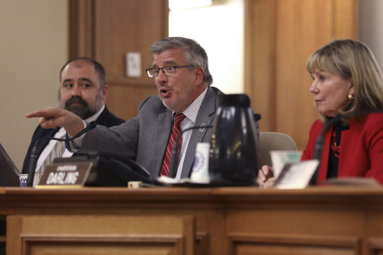 Rep. John Nygren, R-Marinette and co-chair of the Joint Committee on Finance, has faulted Gov. Tony Evers' administration for the slow pace at which it has processed a surge of unemployment insurance claims during the pandemic. He is seen here during a public hearing at the State Capitol on Dec. 3, 2018 in Madison, Wis. Coburn Dukehart / Wisconsin Watch