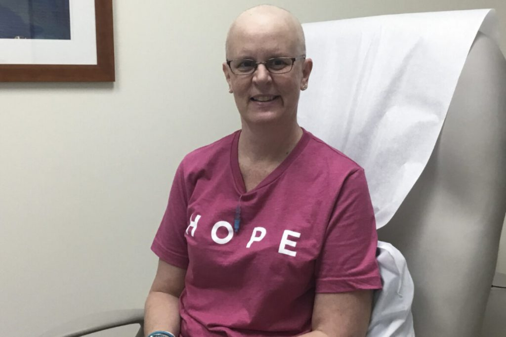 """Karrie Suhr, 50, worked at a public pool in Cedarburg and was scheduled to work at Milwaukee's Summerfest when the pandemic hit. She filed an unemployment claim in June 2020 and has yet to receive benefits. During that limbo she learned the cancer she thought she beat had returned. She began part-time work at a school this fall but has struggled to pay her medical bills. """"I've been paying bills all my life and wanting to have good credit … then something like this happens,"""" she says. Courtesy of Karrie Suhr"""