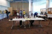 Poll Workers at East Branch Library. Photo by Graham Kilmer.
