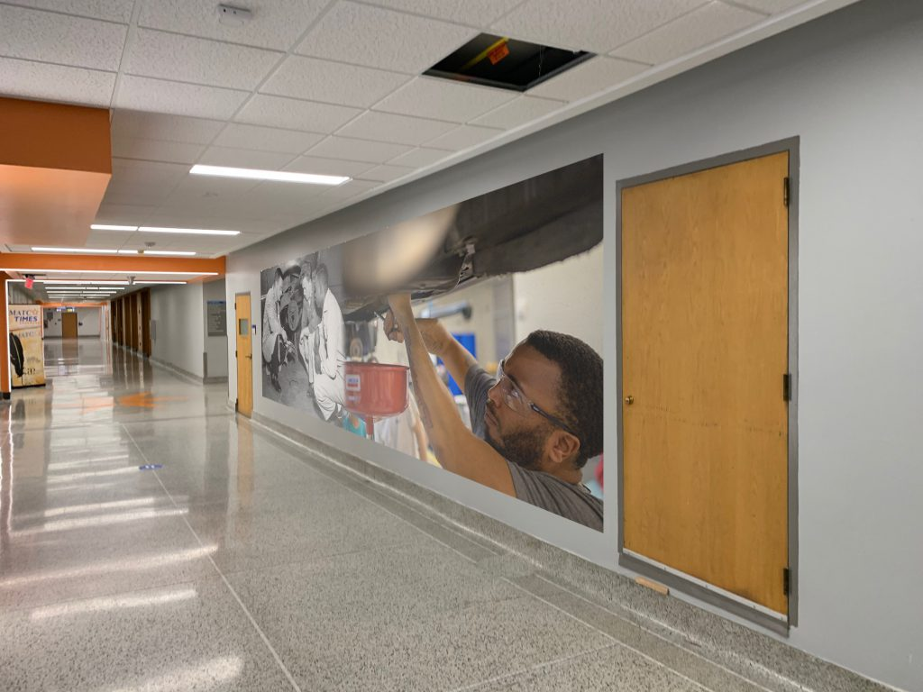 Mural coming off skywalk. Photo courtesy of MATC.