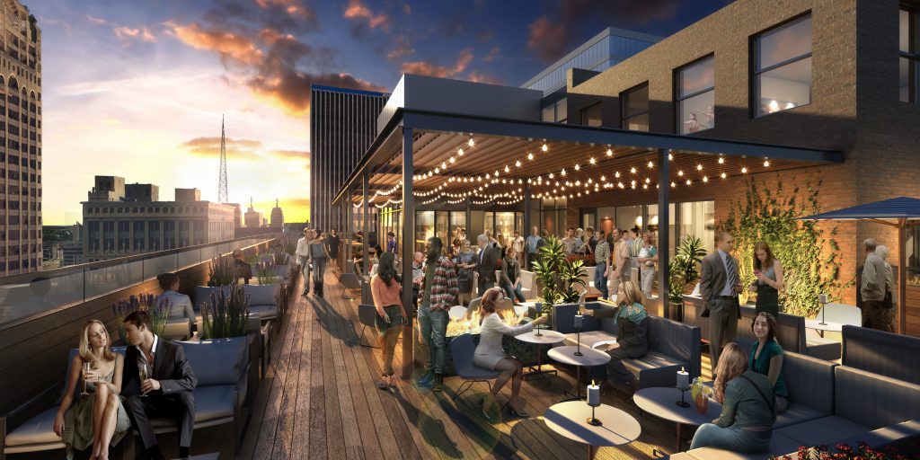 Redeveloped rooftop at the Milwaukee Athletic Club. Rendering by Kahler Slater.