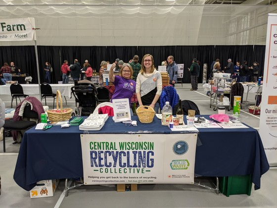 Representatives from the Central Wisconsin Recycling Collective (CWRC) spent Feb. 8, 2020, at a local food fair to share information about recycling. This photo was taken before the COVID-19 pandemic./ Photo Credit: The CWRC