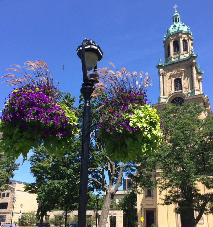 Hanging flower baskets in 2021. Photo courtesy of Cathedral Square Friends, Inc.