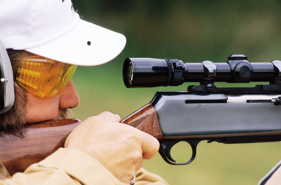 When sighting your firearm, always wear eye and ear protection and make sure others around you have theirs on before shooting. / Photo Credit: Wisconsin DNR