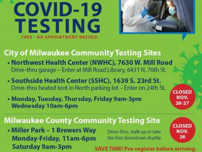 COVID-19 Testing Sites Modify Thanksgiving Week Hours