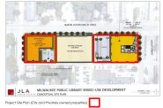 The 2019 site plan for the library's redevelopment. Image from Young Development Group, JLA Architects and City of Milwaukee.