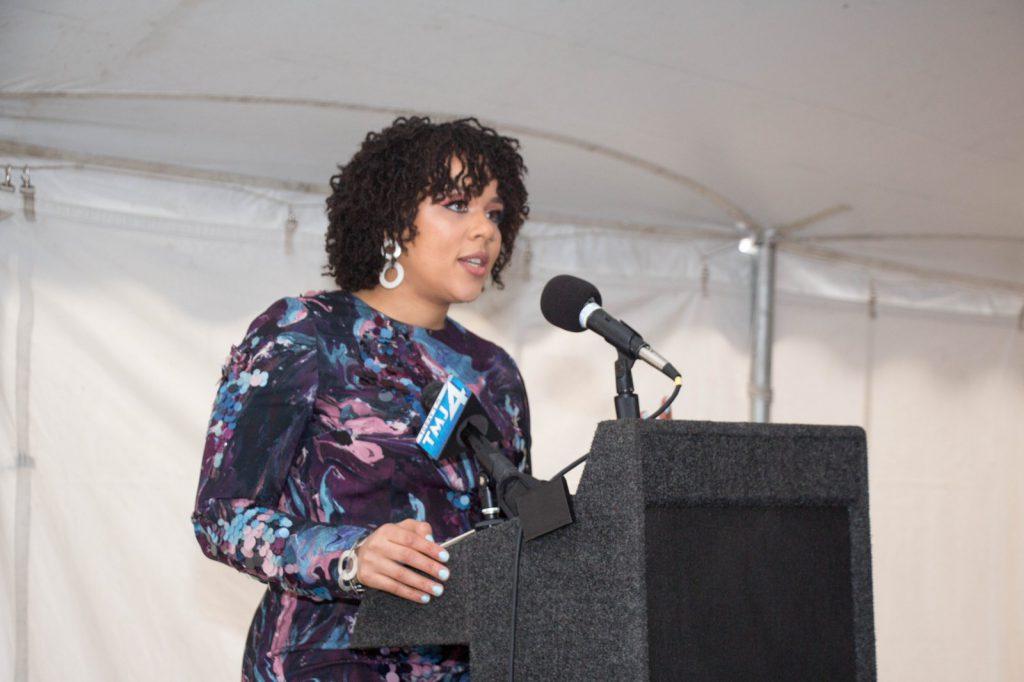 Melissa Allen speaks at a 2017 event. Photo by Justin Gordon.
