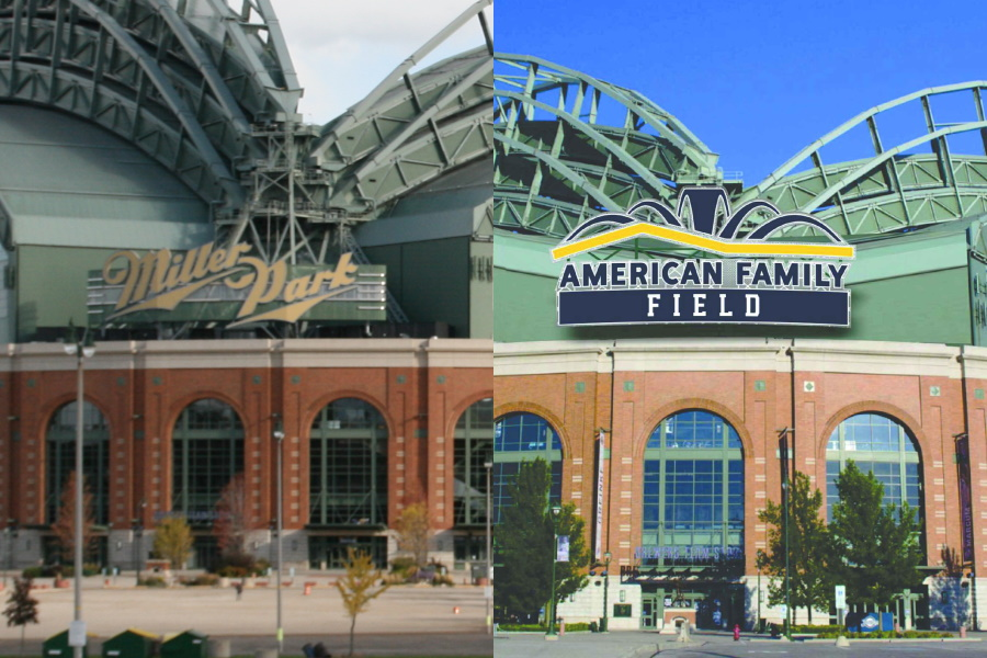 Miller Park and American Family Field signs. Photo by Jeramey Jannene. Rendering submittted to the city by the Milwaukee Brewers/Jones Sign Co.