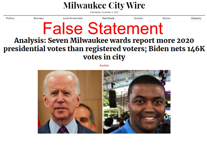 "Milwaukee City Wire screenshot. ""False Statement"" added."