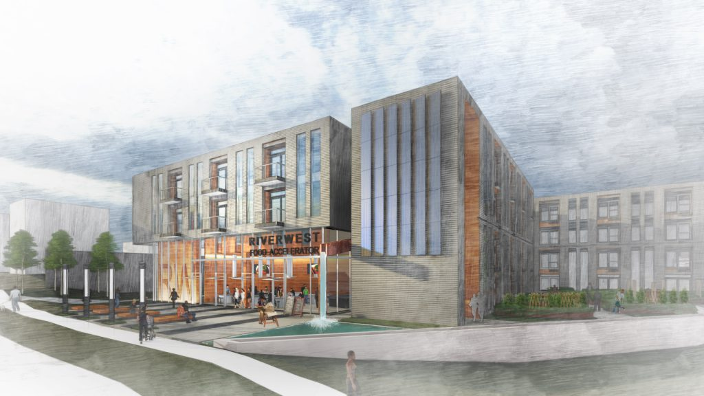 Riverwest Workforce Housing and Food Accelerator. Rendering by Engberg Anderson Architects.