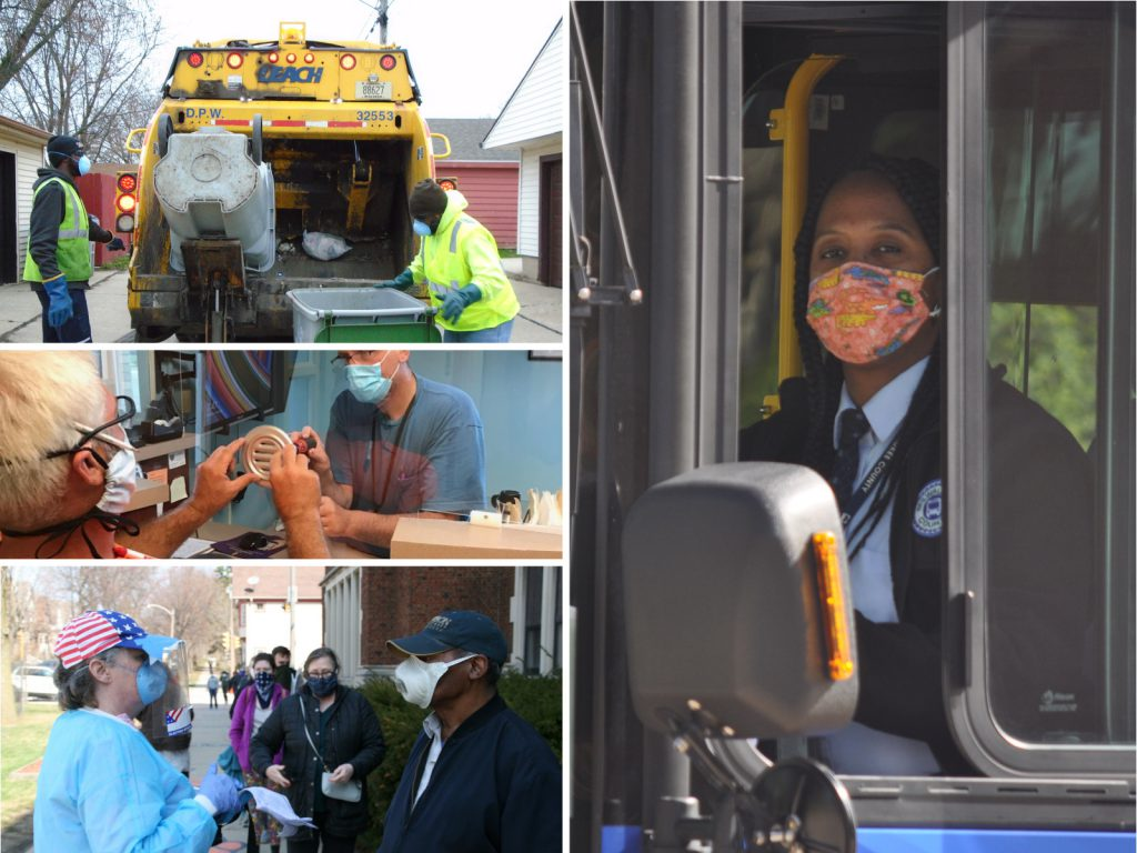 Essential workers in 2020. Images from the Department of Public Works, MCTS and Jeramey Jannene.