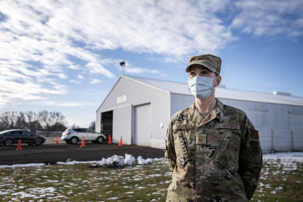 Master Sgt. Emily Decker at the COVID-19 testing site at the Walworth County Fairgrounds in Elkhorn, Wis. Angela Major/WPR