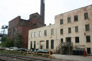Now demolished buildings at The Tannery/River Place Lofts as seen in 2009. Photo by Jeramey Jannene.