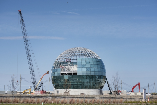 A globe is constructed Wednesday, Oct. 21, 2020, at the Foxconn campus in Mount Pleasant. Angela Major/WPR