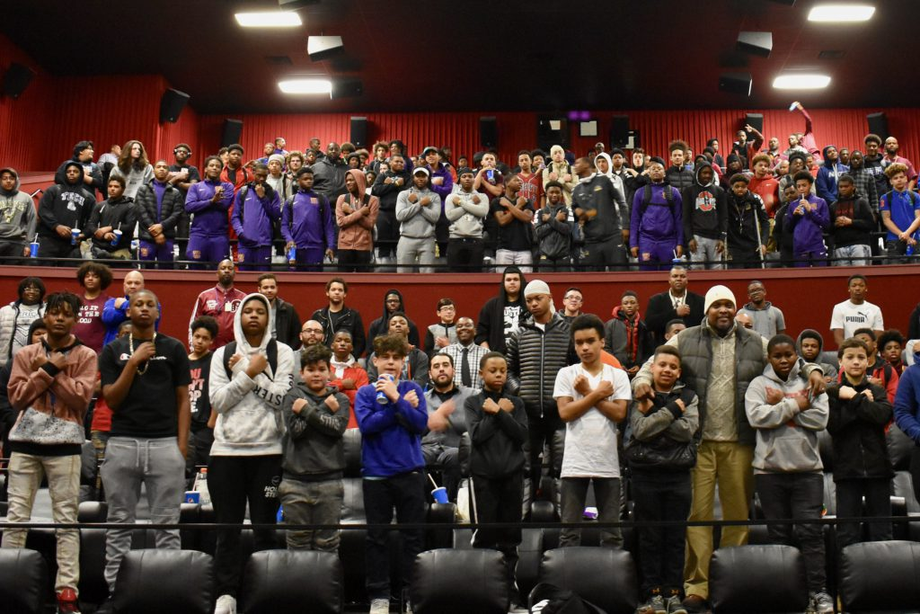 """Design Your Future"" is built on the outreach work of groups like MPS' Department of Black and Latino Male Achievement, or BLMA. Here participants of BLMA pose after a screening of ""Black Panther"" in 2018. Photo provided by MPS."