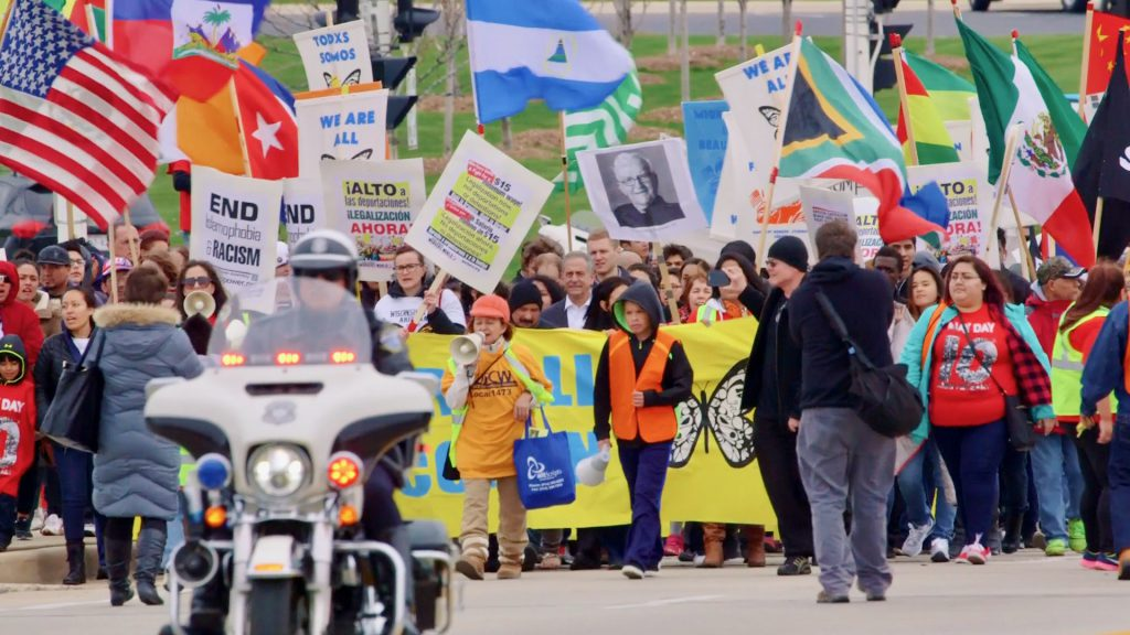 Georgia and Ralph Pabst knew that Latinos had a rich history in Wisconsin. But they wanted to explore what life for them is like today. This photo captures a Voces de la Frontera march. Photo provided by Ralph Pabst/NNS.