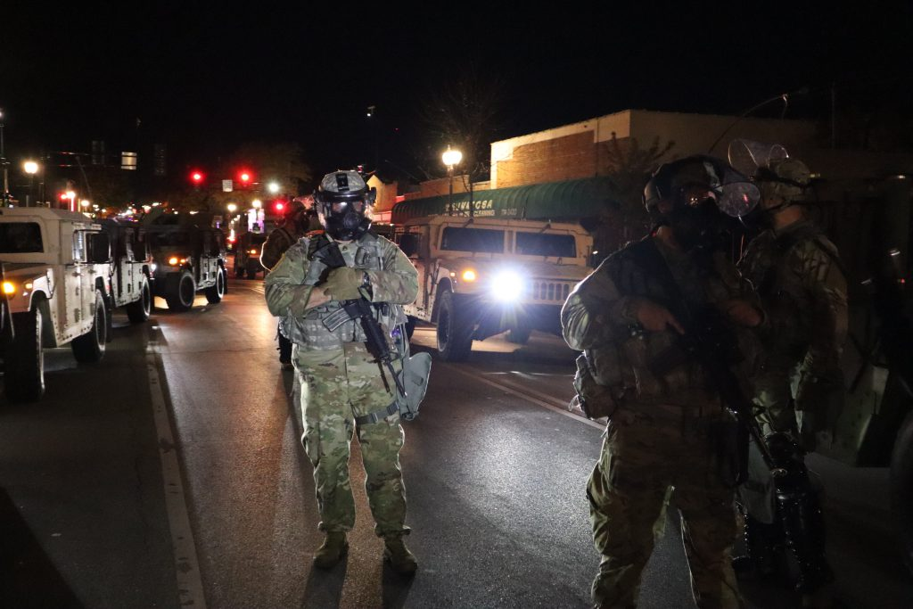 National Guard block North Avenue into Wauwatosa. Photo by Isiah Holmes/Wisconsin Examiner.