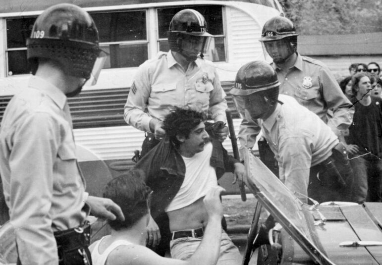 Police arrest Paul Soglin on Mifflin Street in Madison, Wis., in May 1969. The protest of the Vietnam War erupted into a weekend of unrest that injured dozens after officers in riot gear arrested people for minor infractions while responding to a noise complaint. Soglin, who entered politics as a University of Wisconsin-Madison student, sat on Madison's Common Council at the time of his arrest. He later served a total of 22 years as Madison's mayor between 1973 to 2019. Cap Times