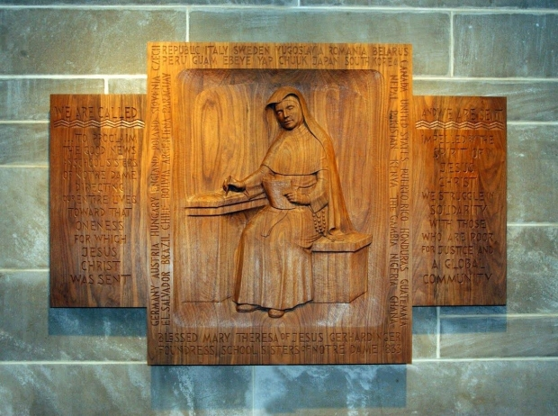 Sister Regine Collins' wood carving of Blessed Theresa Gethardinger, founder of School Sisters of Notre Dame (SSND). The carving is at Mary Our Queen Cathedral in Baltimore and includes the countries the SSND can be found in. Photo courtesy of the School Sisters of Notre Dame North American Archives, Milwaukee, Wisconsin