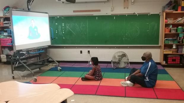 The summer Milwaukee Recreation program at George Washington Carver Academy included morning mindfulness. Photo courtesy of MKE Rec