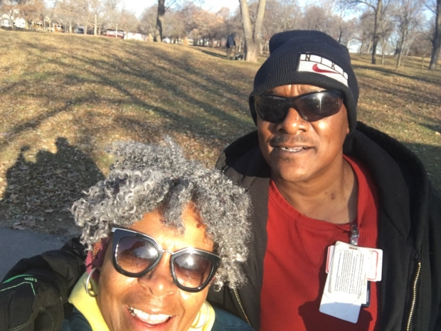 Charles Sheppard and Dorothy McCollum smile for the camera. They were out doing outreach to connect with homeless veterans in Milwaukee. Photo courtesy of Dororthy McCollum