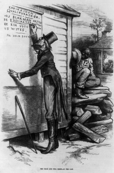 An 1879 cartoon in Harper's Magazine satirizes the requirement that African-Americans pass a literacy test to vote. U.S. Library of Congress. (Public Domain).