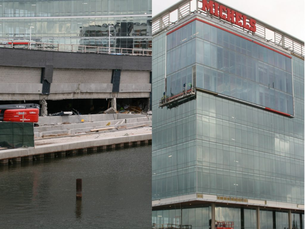 Visible damage to the parking garage at Michels Corp's River One development. Photos by Jeramey Jannene.