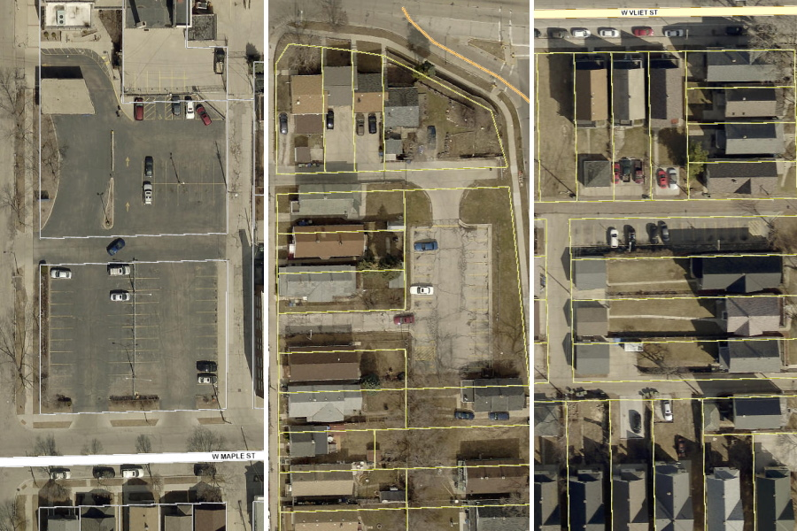 Parking lots at 930 W. Maple St., 2128 S. 5th Pl. and 1337 N. 32nd St. Images from the City of Milwaukee land management system.