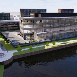 Rite-Hite's planned corporate headquarters in the Reed Street Yards. Rendering by Eppstein Uhen Architects.