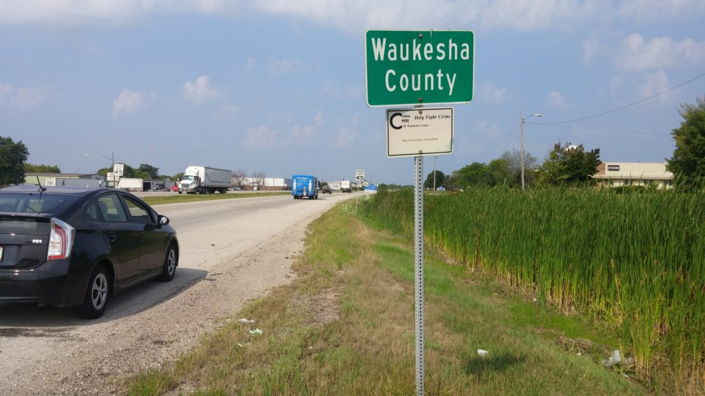 Silver Spring enters Waukesha County. Photo by Carl Baehr.