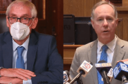 Gov. Tony Evers (left) and Assembly Speaker Robin Vos (right) at recent separate news conferences, showing their divergent approaches to public health. Evers' briefing was conducted online. Vos' was held in person, although it was also livestreamed. Photo illustration from Wisconsin Examiner.