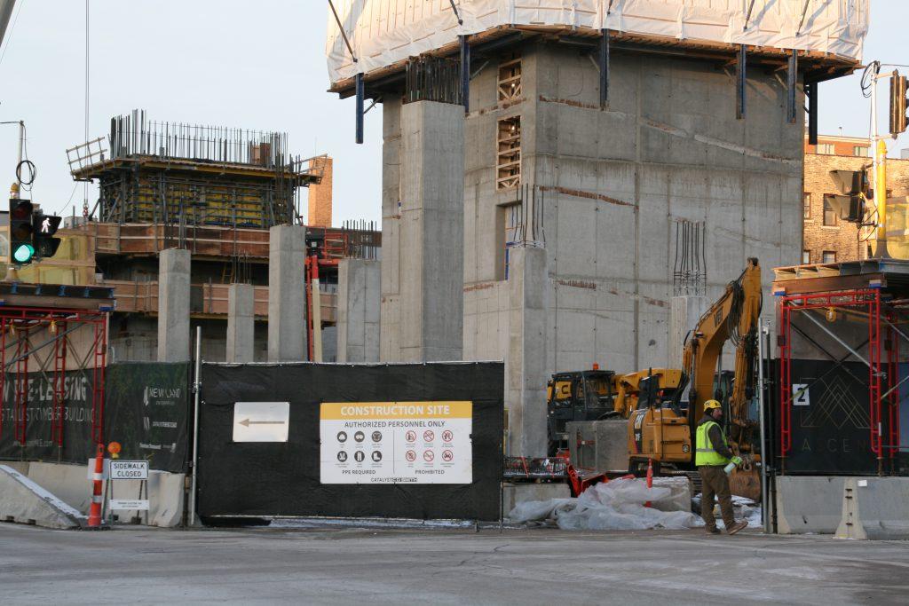 Construction progress on Ascent, a 25-story apartment tower. Photo by Jeramey Jannene.