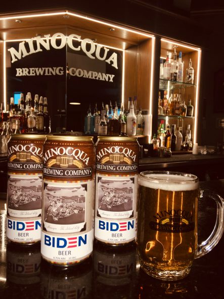 Joe Biden beer. Photo courtesy of Minocqua Brewing Company.