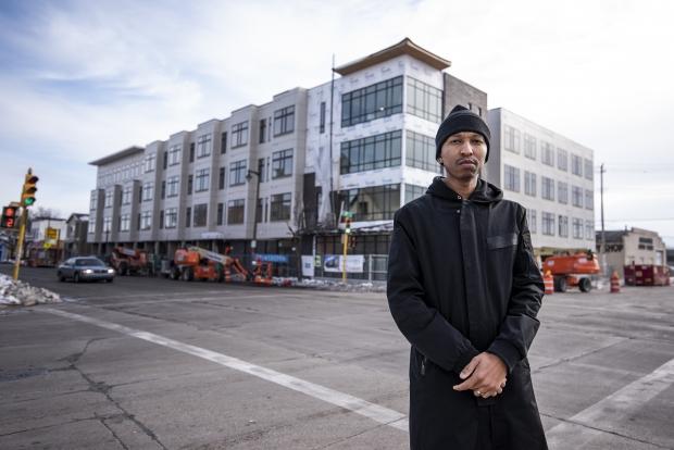 Que El-Amin stands in front of his Villard Commons development on Thursday, Jan. 14, 2021, in Milwaukee, Wis. Angela Major/WPR