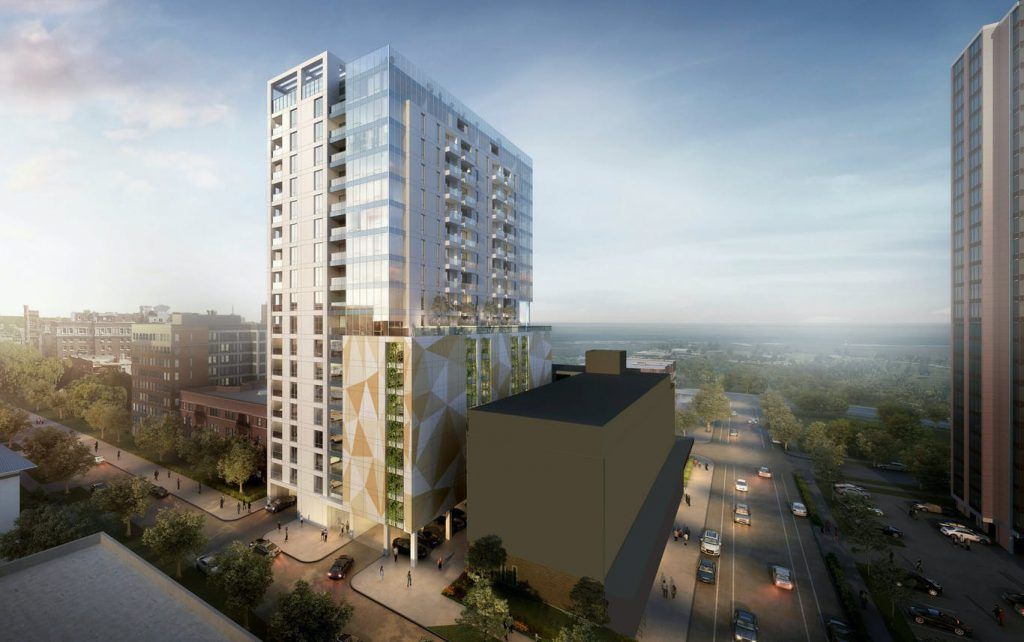 18-story for 1000 block of N. Marshall St. Rendering by Kahler Slater.