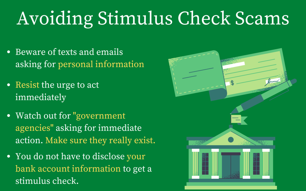 Scammers try to take advantage of people by using fake websites and impersonating government agencies. Graphic by Matt Martinez.