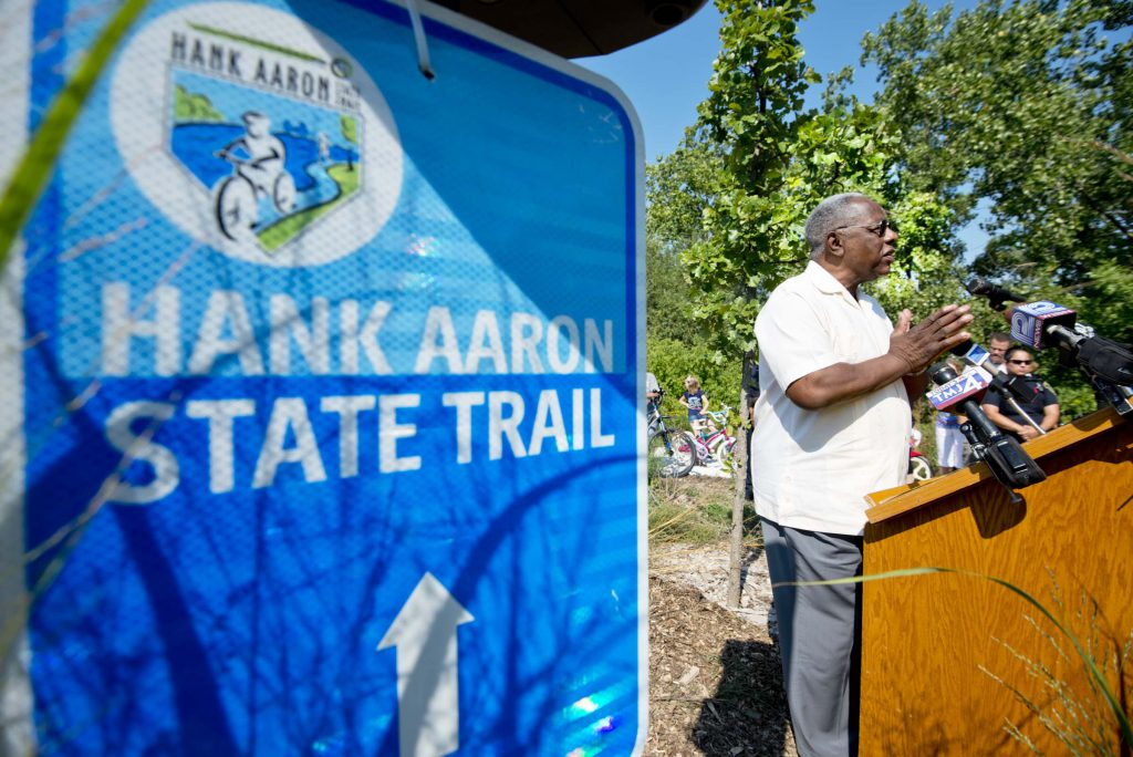2012 - Hank Aaron at the groundbreaking for Three Bridges Park and a Hank Aaron State Trail extension to connect the Valley Passage to Mitchell Park Domes Photo by Dave Schlabowske.