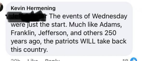 """A Facebook comment in which former Marathon County Republican Party chair Kevin Hermening says the attack on the U.S. Capitol was """"just the start."""""""