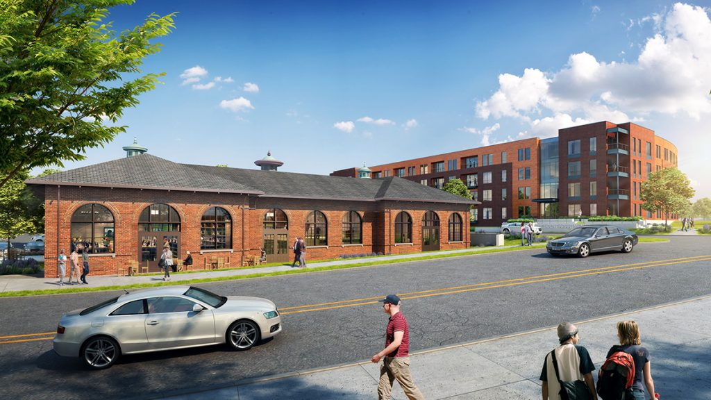 Historic Powerhouse + Crescent Apartments. Rendering courtesy of Mandel Group.